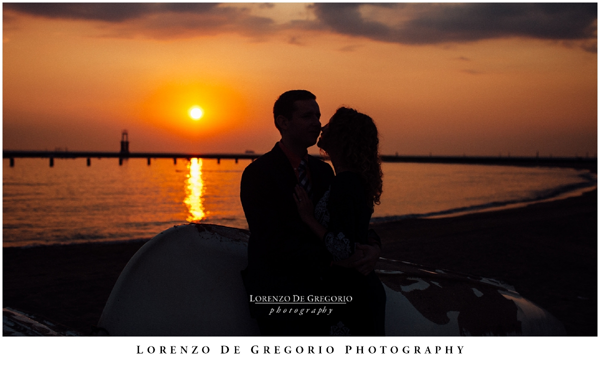 Chicago sunrise engagement session | North Avenue beach engagement photos