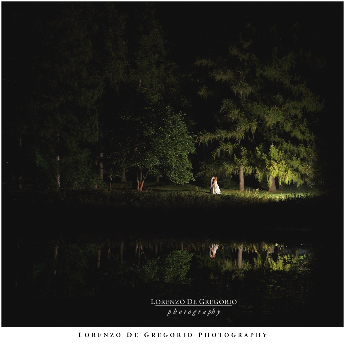 Morton Arboretum wedding, night shot, Chicago wedding photographer, Lorenzo De Gregorio Photography.