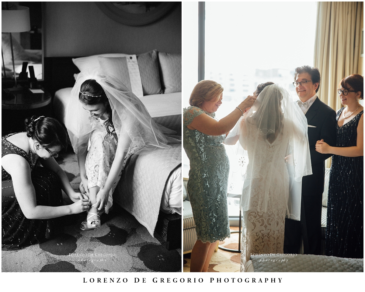 Getting ready at the Palomar Hotel, Chicago. Hotel Palomar wedding, Chicago wedding photographer, Lorenzo De Gregorio Photography.