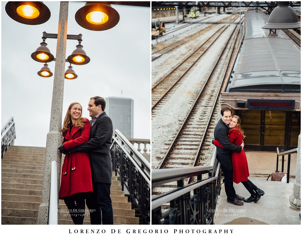 Winter downtown Chicago engagement photography