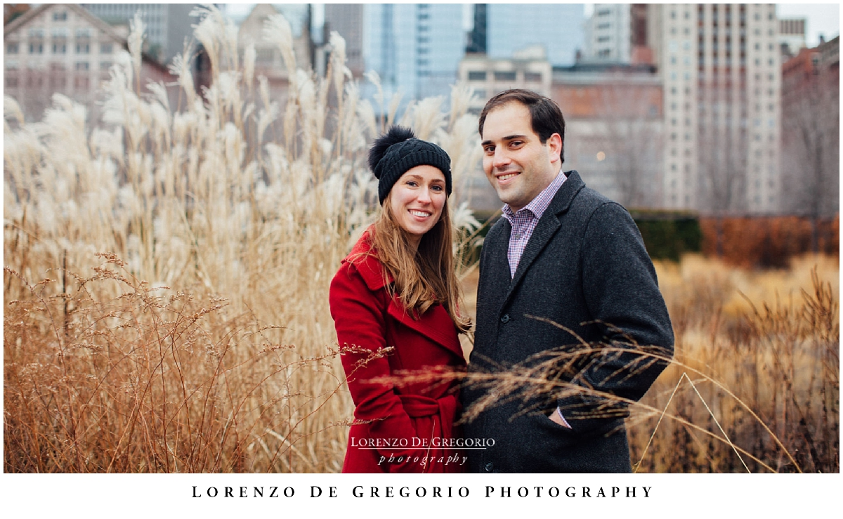 Downtown winter chicago engagement photography