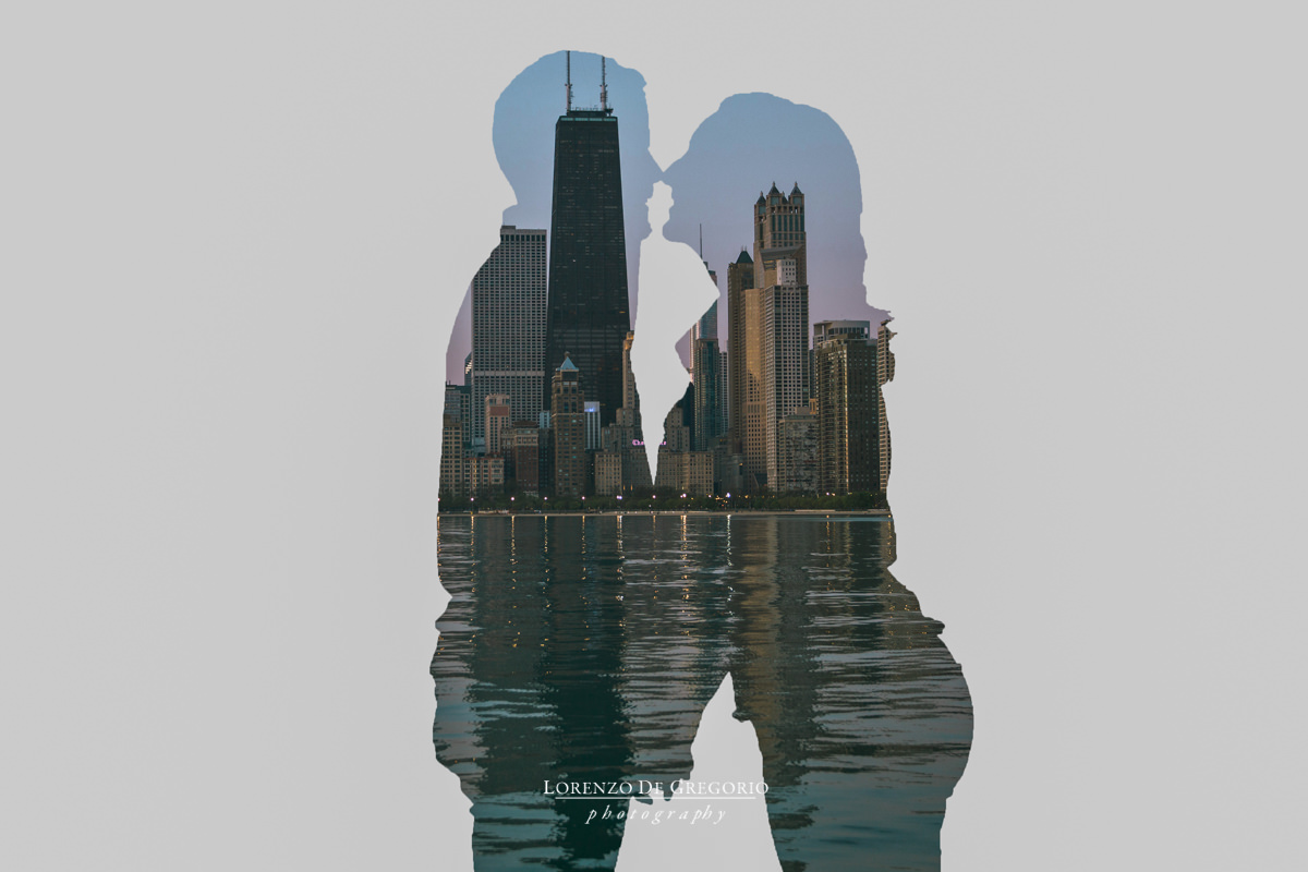 Chicago engagement photography | North avenue beach engagement photos | Chicago double exposure