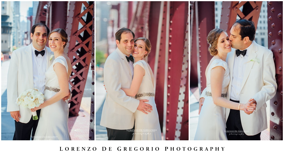 Bride and groom portraits at Lasalle bridge