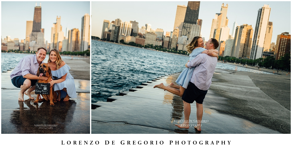 Engagement photos with dogs in Chicago and North Avenue beach.