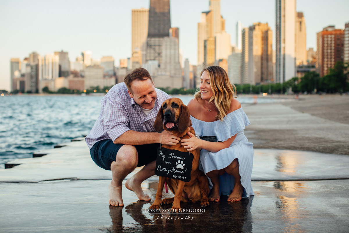 Chicago engagement photos with dogs | Engagement photographers