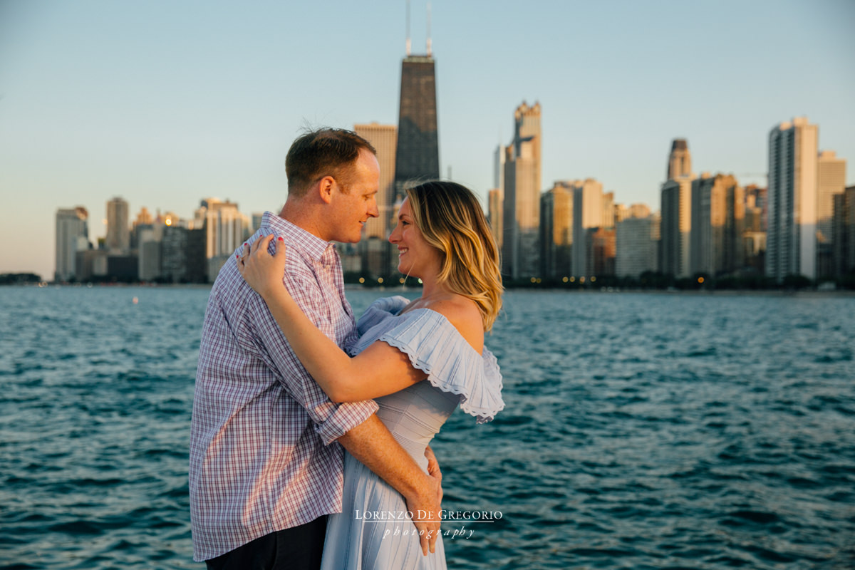 Chicago engagement photos at sunset at North Avenue beach