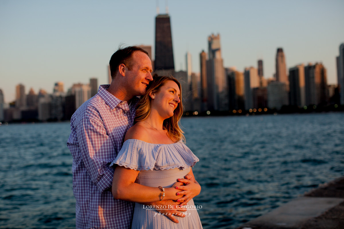 Chicago engagement photos at sunset