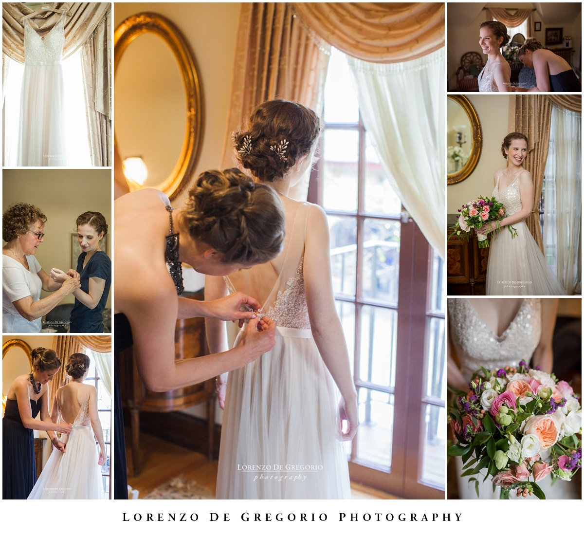 Bridal getting ready at the Redfield Estate